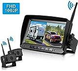 FHD 1080P Digital Wireless Dual Backup Camera 7'' Monitor Kit Split Screen for Trailer/RV/Truck/Camper Rear/Side/Front View Camera Night Vision IP69K Waterproof Driving/Reversing Use
