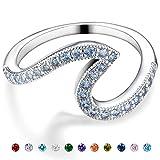 Aquamarine Birthstone Ring for women-Copper Round Cubic White Zirconia Solitaire Wedding Engagement March Birthstone Ring Size 8 for Women