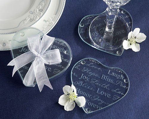 (Good Wishes Heart Glass Coasters (Set of 32) - Wedding Favors & Baby Shower Gifts )