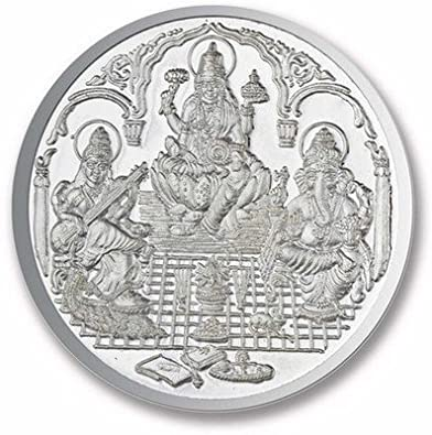 Ananth Jewels BIS Hallmarked 990 Purity Ganesha, Lakshmi and Saraswati  Silver Coin (10G)