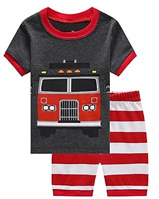Boy Pajamas 2 Piece Children Short Set 100% Cotton Toddler Pjs Clothes Set