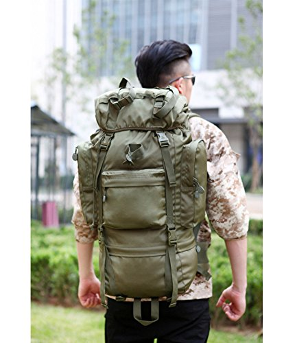Backpack Camping Extra Large 65L Backpack with for Climbing Camping Hiking Travel and Mountaineering (Military green) by Audio Monster