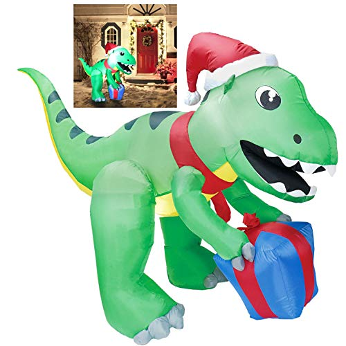 Joiedomi 5 ft Dinosaur Self Inflatable LED Light Up Giant Christmas Blow Up Yard Decoration for Xmas Holiday Indoor/Outdoor Garden Party Favor Supplies Décor