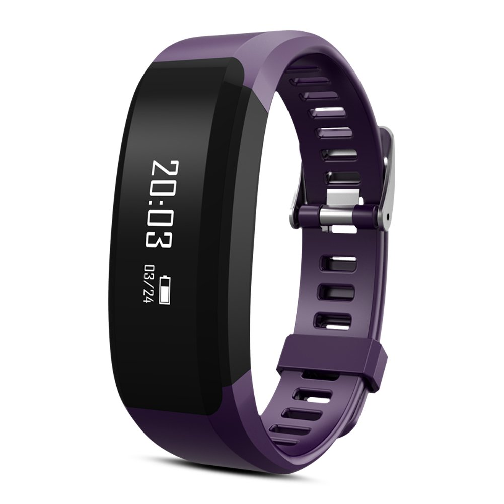 Padgene H28 Bluetooth Heart Rate Monitor Smart Touch Bracelet Fitness Wristband,Smart Wristband Bluetooth Sports Bracelet Activity Tracker for Android and IOS (Purple)