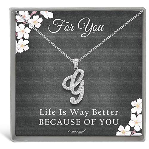 Sterling Silver Initial Necklace CZ Cursive Script Letter Adjustable Chain Keepsake Card Gift for Her - G - Dark