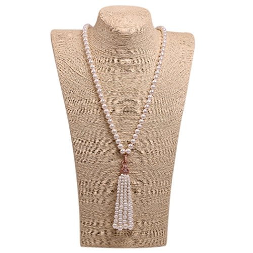 Wild Wind (TM) Valentine's Diamond Leopard Tassels Pearl Necklaces (Rose Gold - In Store Watch Coupon Station