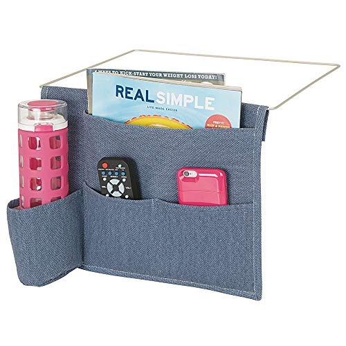 mDesign Bedside Storage Organizer Caddy Pocket - Slim Space Saving Design, 4 Pockets - Heavy Cotton Canvas - Holds Water Bottles, Books, Magazines - Denim Blue/Wire Insert in Satin