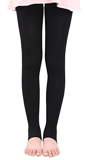 de48013f4b2 BaiX Little Girls  Solid Opaque Stirrup Tights Dance Leggings Panty-hose