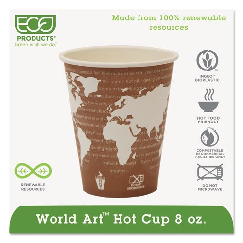 Eco-Products World Art Renewable Resource Compostable Hot Drink Cups, 8 oz, Plum - Includes 1000 per case.