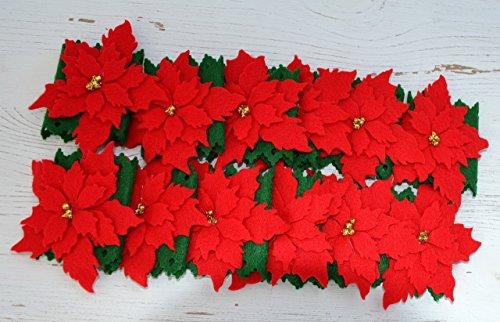 Poinsettia Christmas Flower Felt Napkin Holders, Set of 12 (Poinsettia Felt)