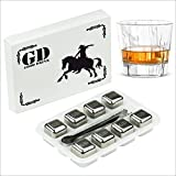 Kitchen Appliance Packages with Counter Depth Fridge Whiskey Stones (Set Of 8 Pcs) - Stainless Steel Reusable Ice Cubes for Whiskey. And 2 Bonuses Included: BPA-Free Tray And Tongs by Good Drink