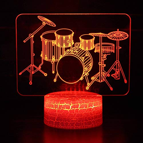 3D Drum Set Music Night Light Table Desk Optical Illusion Lamps 7 Color Changing Lights LED Table Lamp Xmas Home Love Brithday Children Kids Decor Toy ()