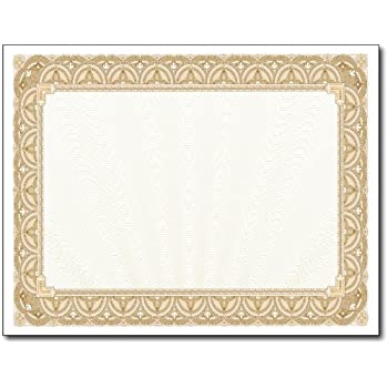 Amazon award certificates 50 blank plain paper sheets 28lb gold border certicates 100 certificates yadclub Image collections