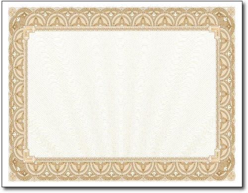 28lb Gold Border Certicates - 100 (Blank Certificate Border)