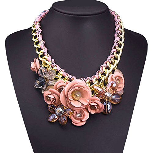 LovelyJewelry Vintage Pink Flower Statement Necklace Bubble Bib Chunky Golden Chain Pendant (Mint Beaded Necklace)