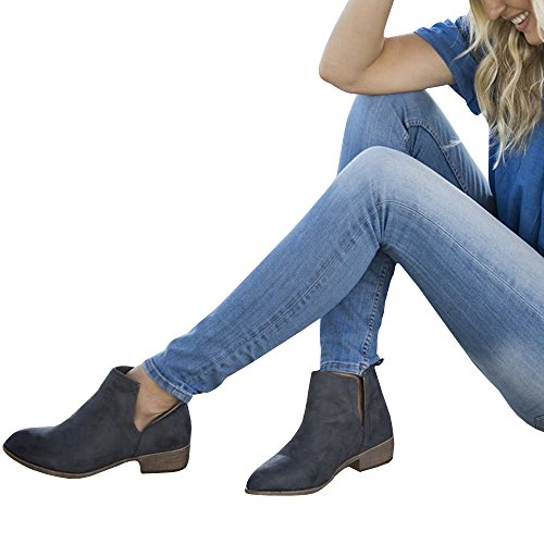 Gobought Womens Cutout Slip On Ankle Booties Closed Toe Chunky Low Heel Boots Dark Grey
