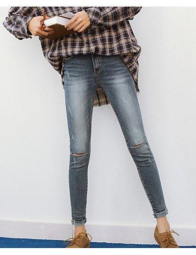 TT&NIUZAIKU Frauen Normale Mitte Aufstieg Mikro-elastische Jeans Hosen, Vintage Feste Baumwolle Leinen Bambusfaser Acryl Feder, Blau, 26