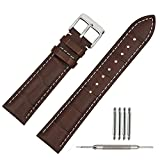 TStrap Genuine Leather Watch Band 18mm Brown Watch Strap w/ Stainless Steel Watch Clasp Buckle
