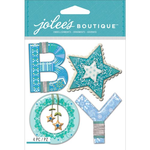 Jolee's Boutique Dimensional Stickers, Baby Boy Yarn Word Baby Chipboard