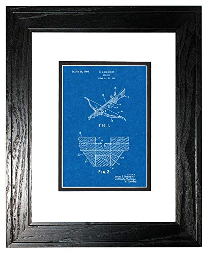 """Crossbow Patent Art Blueprint Print in a Black Pine Wood Frame with a Double Mat (13"""" x 19"""") M15642"""