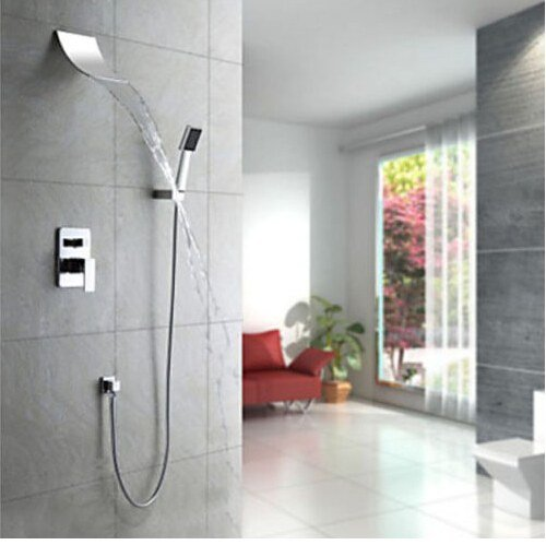 Gowe modern bathroom waterfall shower set with shower head+hand shower wall mount 0