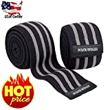 Sports Knee Wraps (Pair) for Weight Lifting, Gym Workout, Cross Training WODs,Fitness & Powerlifting - Knee Straps for Squats - Compression & Elastic Support Gray/Black