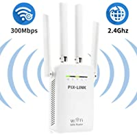 WiFi Range Extender Signal Adapter with 4 External Antenna Repeater for 2.4GHz and 300Mbps High Speed Wi-fi Booster