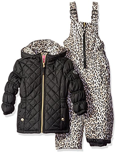 Pink Platinum Girls' Quilted Snowsuit with Cheetah Print