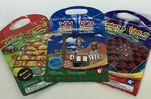 Magnetic Travel Games : set of 3: CHECKERS AND TIC TAC TOE,SNAKES & LADDERS,WILD WEST HANGMAN:By Stuff & ETC by Stuff & ETC.