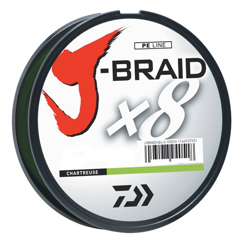 Daiwa JB8U20-300CH J-Braid Braided Line, 20 Lbs Tested, 330 yd/300M Filler Spool, Chartreuse