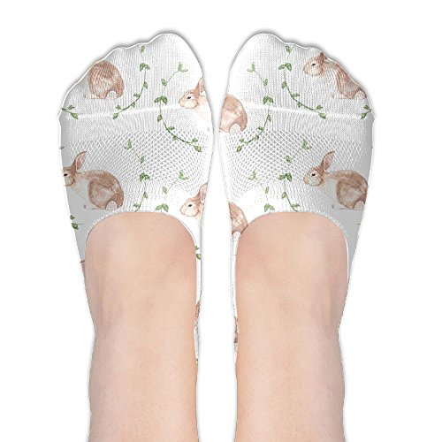 (Low Cut Socks Cute Rabbit Bunny Printed Comfortable No-show Liner Invisible Polyester Cotton Sock For Girls & Womens , One)