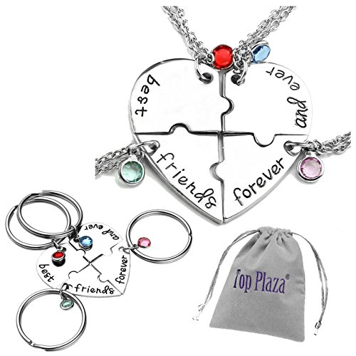 Top Plaza Silver Tone Alloy Rhinestone Best Friends Forever and Ever BFF Keyring Engraved Puzzle Friendship Matching Pendant Keychains Necklaces Set - Set of 4