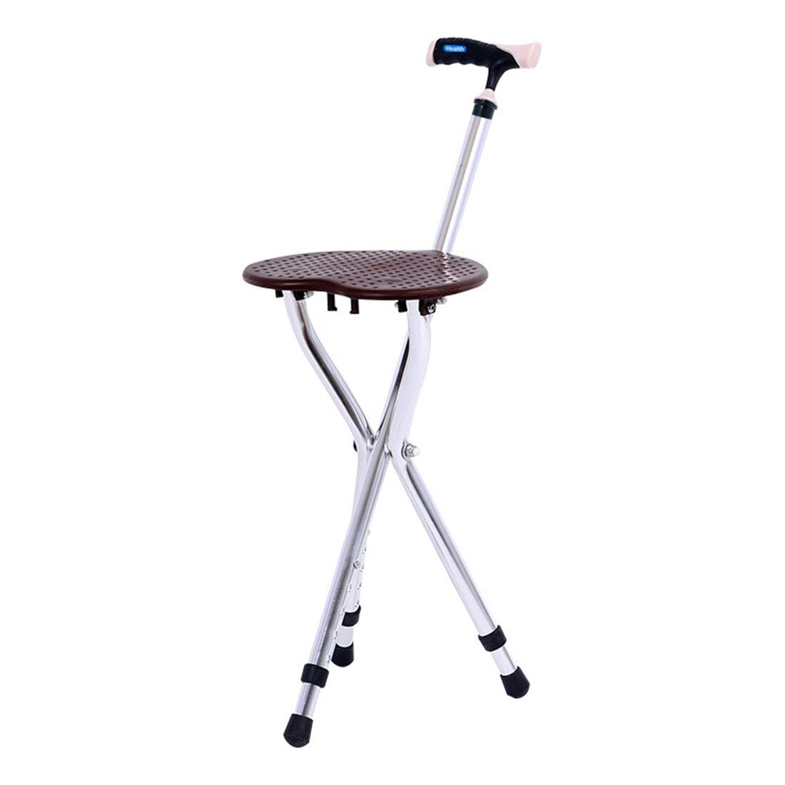 Health Folding Cane Seat Stool Old People Retractable Lightweight Adjustable Height Walking 300 lbs Capacity Combo Three-Legged Deluxe Massage Crutches Aluminum Travel Aid by Autopeck Cane