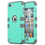 iPod Touch 6 Case,iPod Touch 5 Case ,ULAK [Colorful Series] 3-Piece Style Hybrid Silicon Hard Case Cover for Apple iPod Touch 5 6th Generation_2015 Realeased (Aqua Mint/Grey)