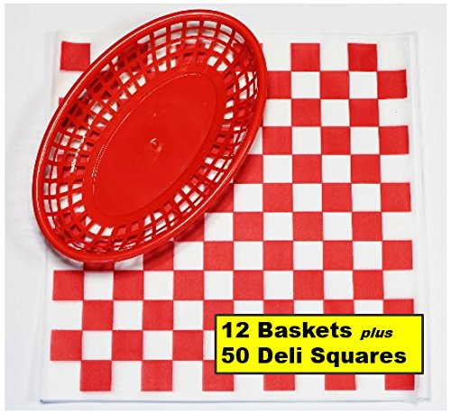 12 Red Plastic Oval Food/Burger Baskets plus 50 Checkered Deli Paper Liners. Restaurant/Food Tray Basket Sets for Barbecues, Picnics, Parties, Kids Meals, Outdoors. Red, White