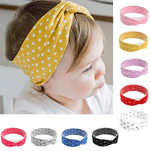 Sunbona Headband For Baby, Toddler Baby Girls Dot Printing Stretch Head Wrap Hair Bands Party Decorative Headwear Set - Dots Bands Hair