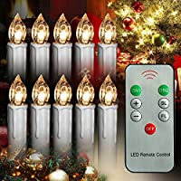 Xinind Taper Candle with Remote Control 10Pcs Warm White LED Flameless Flickering Light Candle,AA Battery-Powered Candle,Christmas Tree Decor Lovely Candle with Clip