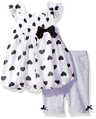 BON BEBE Baby Girls' 2 Piece Flutter Sleeve Chiffon Bubble Dress Set with Capri Short, Dalmatian Hearts, 24 Months (Toddler Dalmatian)