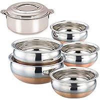 Jalpan Kitchenware Cookware Combo Stainless Steel Serving HANDI Round Copper Bottom 5 Pieces Set 550 ml, 750 ml, 1250 ml, 1900 ml, 2500 ml with Bravo Stainless Steel Hotpot Casserole , 2500 ml