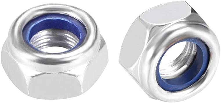 Carbon Steel White Zinc Plated Pack of 50 uxcell 8-32 Nylon Insert Hex Lock Nuts