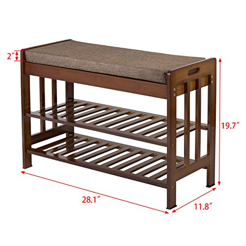 "Ollieroo Natural Bamboo Shoe Rack Entryway Shoe Storage Household Shelf Shoe Bench with Cushion, Size 28.1"" x 11.8"" x 19.7"" (Amber)"