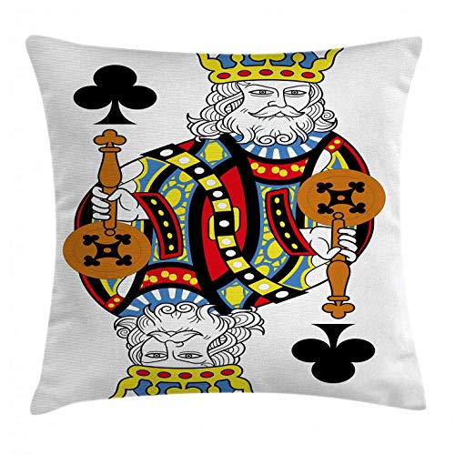 Ambesonne King Throw Pillow Cushion Cover, King of Clubs Playing Gambling Poker Card Game Leisure Theme Without Frame Artwork, Decorative Square Accent Pillow Case, 18