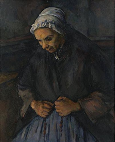 'Paul Cezanne-Old Woman With A Rosary,1896' Oil Painting, 30x37 Inch / 76x95 Cm ,printed On High Quality Polyster Canvas ,this Beautiful Art Decorative Canvas Prints Is Perfectly Suitalbe For Foyer Decor And Home Decor And (Diva Zebra Print Lunch Napkins)