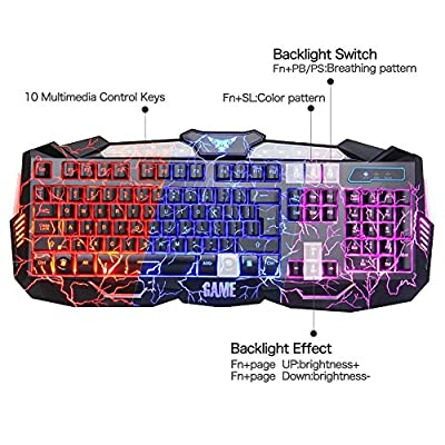 MFTEK Backlit Gaming Keyboard Mouse Combo with LED Gaming Headset Over-Ear Headphone 40mm Speaker Driver + Gaming Mouse Mat