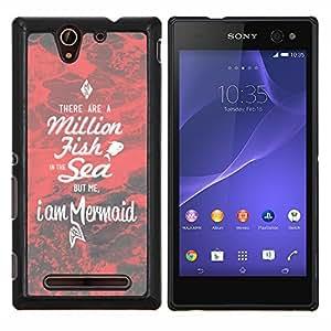 Sirena Roja Dating motivación Amor- Metal de aluminio y de plástico duro Caja del teléfono - Negro - Sony Xperia C3 D2533 / C3 Dual D2502