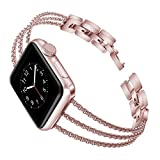 Biaoge Metal Band Compatible for Apple Watch Band Series 4 40mm 44mm/ iWatch Series 3 2 1 38mm 42mm, Adjustable Stainless Steel Replacement Wristband Strap Cuff Bangle Bracelet Access(Rose Pink, 42mm)