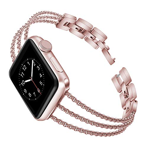(Biaoge Metal Band Compatible for Apple Watch Band Series 4 40mm 44mm/ iWatch Series 3 2 1 38mm 42mm, Adjustable Stainless Steel Replacement Wristband Strap Cuff Bangle Bracelet Access(Rose Pink, 38mm))