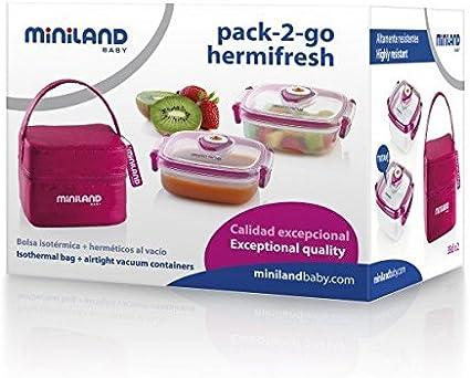 Miniland Pack-2-Go Hermifresh - Herméticos de vacío con funda, color rosa: Amazon.es: Bebé