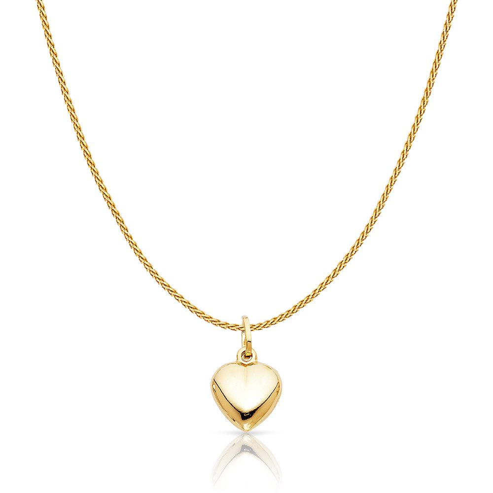 14K Yellow Gold Plain Heart Charm Pendant with 0.9mm Wheat Chain Necklace - 20''