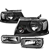 07 f150 smoked headlights - Ford F150 Pair of Black Housing Clear Corner Headlights + Smoked Lens Fog Lights